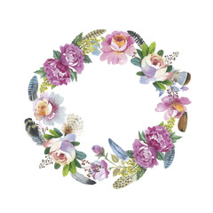 Wildflower rose flower wreath in a watercolor style isolated.