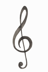 Watercolor treble clef. Isolated musical sign on white background.