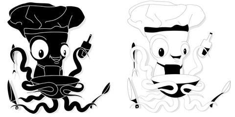 Nice cartoon octopus chef in cook hat.