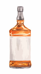 Watercolor whiskey bottle on white background. Alcohol beverage. Drink for restaurant or pub.