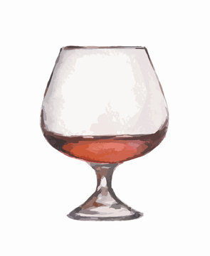 Watercolor cognac glass on white background. Alcohol beverage. Drink for restaurant or pub.