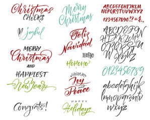 Vector alphabet. Christmas and New Year congrats. Season greetings. Lettering for postcards and greetings to family and friends