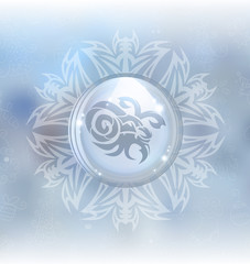 A vector illustration of a transparent snow globe in a snowflake frame on the blurred background with a zodiac sign Capricorn. Includes transparent objects and opacity masks.