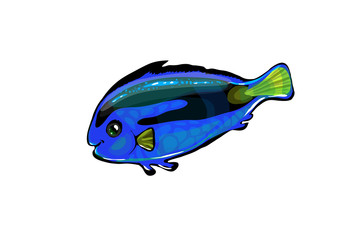 Vector  neon blue fish in the sea. Funny illustration isolated o