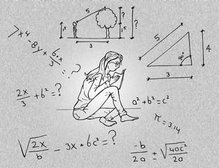 Studente leert wiskunde
