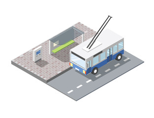 Vector isometric illustration of bus station with ticket sell terminal, city public transport road element, 3d flat design , blue trolleybus