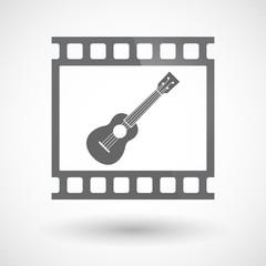 Isolated 35mm film frame slide photogram with  an ukulele