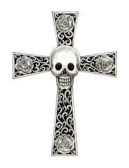 Art skull cross tattoo. Art design skull head mix vintage cross hand pencil drawing on paper.