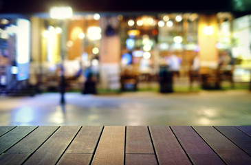 Aluminium Prints Tokyo image of wooden table in front of abstract blurred background