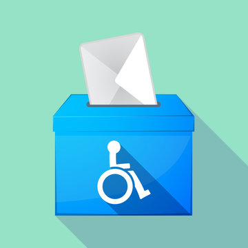 Long shadow ballot box with  a human figure in a wheelchair icon