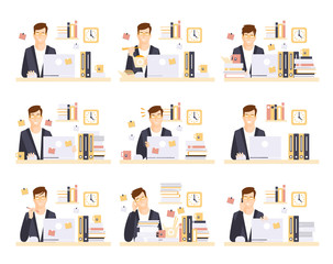Male Office Worker In His Cubicle Working Set Of Illustrations