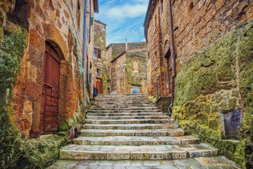Wall Mural - Alley in old town Pitigliano, Tuscany, Italy