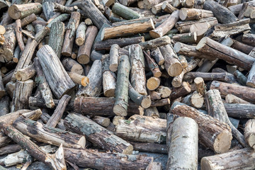 Close view of mesquite wood.  image of stacked firewood.