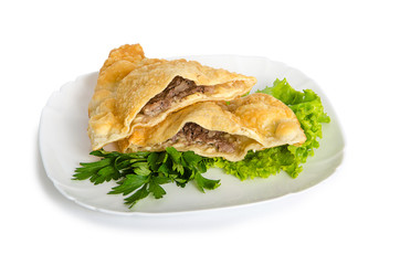 one cheburek with lamb and herbal on white plate
