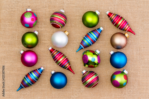 """""""Assortment of bright colorful Christmas ornaments"""" Stock ..."""