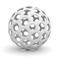 White hollow sphere isolated over white background with shadow 3D rendering