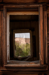 Window View In Abandoned Cabin