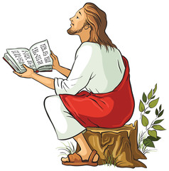 Jesus reading the Bible. Vector cartoon isolated illustration