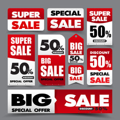 Collection of basic red and white web tag banner promotion sale