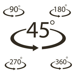 45-360 degree icon vector
