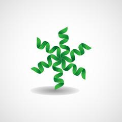 Green leaves in a swirl logo