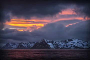 Sunset on Austvågøya, Lofoten, Norway