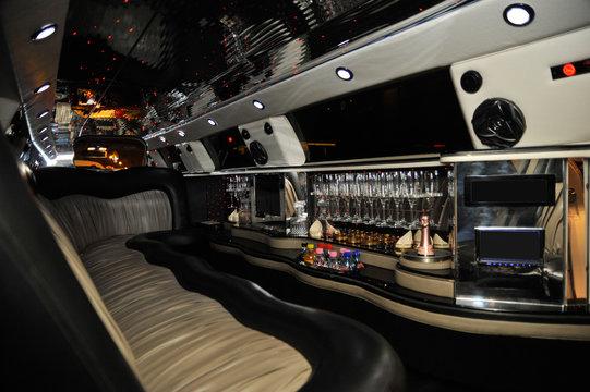 Interior of limousine car