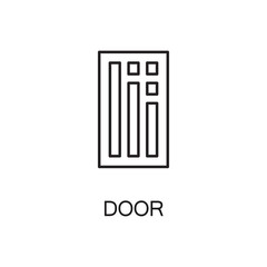 Door line icon. Vector high quality outline pictogram of door. Sign of element for home's interior. Thin line icon for design website or mobile app. Black symbol on format EPS 10 for logo.