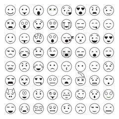 Set of Emoticons. 64 Emoji.