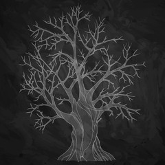 White silhouette of a big old bare tree on black textured background. Grunge style vector illustration.