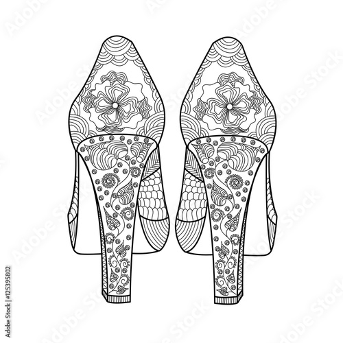 Womens Shoes With A Beautiful Pattern Hands Sketch Doodle Element Printing On T Shirts