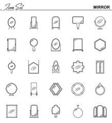Mirror line icon set. Thin line pictogram for webdesign. Outline high quality sign for design websete, mobile app, logo.