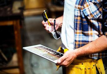 Carpenter with Tablet Mockup 1