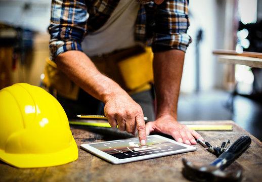 Carpenter with Tablet Mockup 2