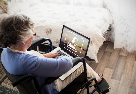 Senior Citizen with Laptop Mockup