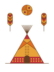 Traditional native american tipi, feathers and symbolic sun. Indian dwelling
