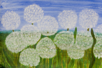 White sunflowers, painting