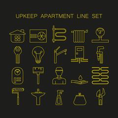 Set of line icon of upkeep home.