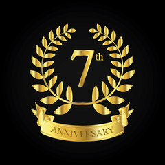 7th golden anniversary logo, first celebration with ribbon