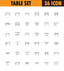Table line icon set.