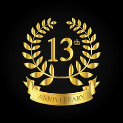 13th golden anniversary logo, first celebration with ribbon