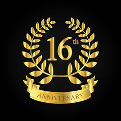 16th golden anniversary logo, first celebration with ribbon
