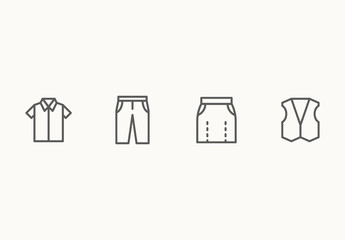 35 Minimalist Clothing Icons