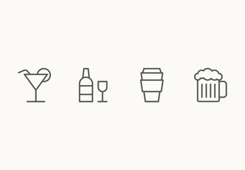 30 Minimalist Beverage Icons