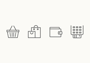 55 Minimalist Shopping and E-Commerce Icons