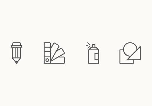 40 Minimalist Design Aspects Icons