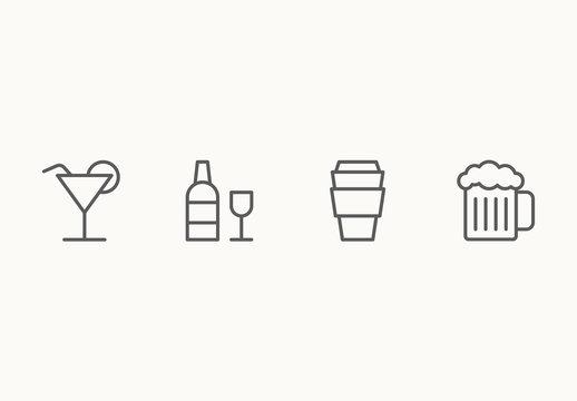 30 Minimalist Beverage Icons