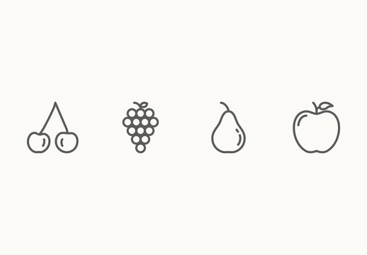 20 Minimalist Fruit Icons