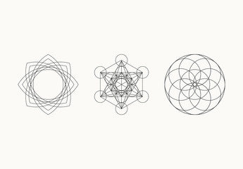 20 Light Geometric Line Art Icons