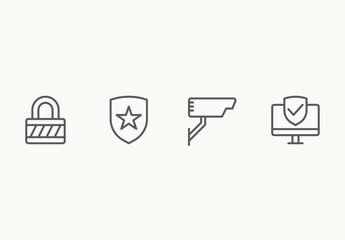 35 Minimalist Security Icons
